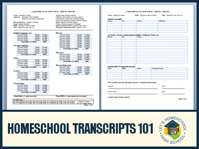 Homeschool transcripts 101 for Official transcript template