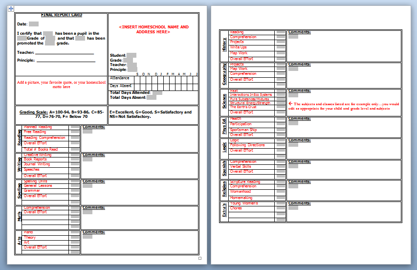 high school report card template word - free class schedule template word