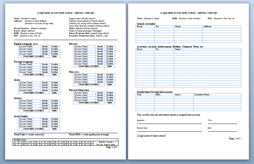 Homeschool high school transcripts for Free homeschool transcript template