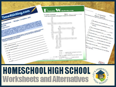 Printables Homeschool Worksheets High School homeschool high school worksheets and alternatives