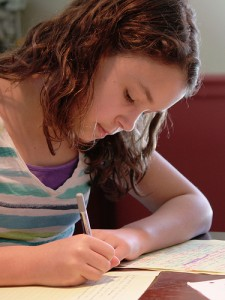 student with homeschool curriculum