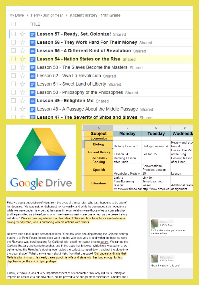 Using Google Drive for High School Homeschool Organization